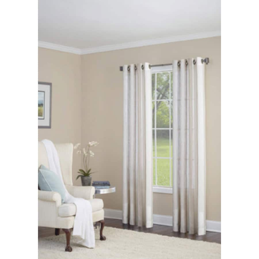 allen + roth Grovegate 95-in Camel Faux Linen Grommet Light Filtering Semi-Sheer Single Curtain Panel