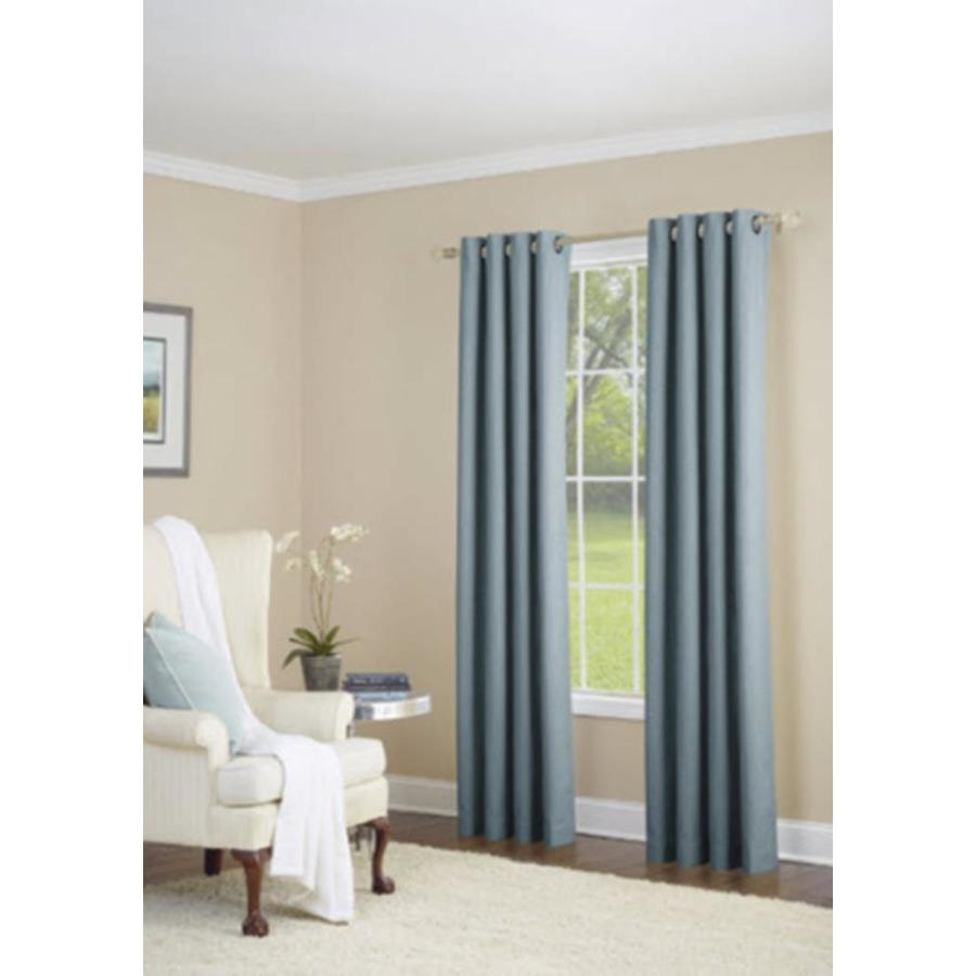 allen + roth Whinfell 95-in Sky Blue Faux Linen Grommet Light Filtering Single Curtain Panel