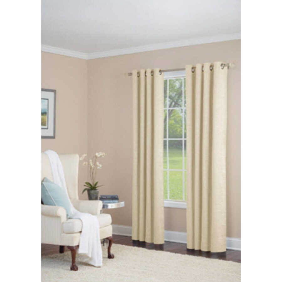 allen + roth Silcroft 95-in Ivory Polyester Grommet Light Filtering Single Curtain Panel