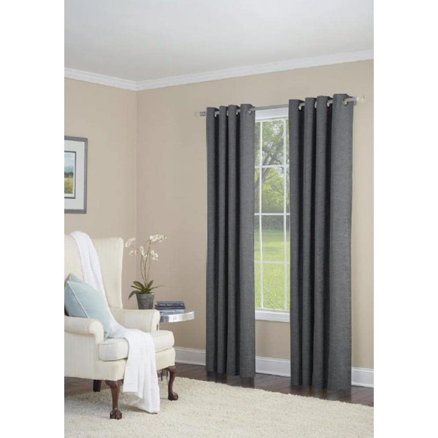 allen + roth Silcroft 95-in Gunmetal Polyester Grommet Light Filtering Single Curtain Panel