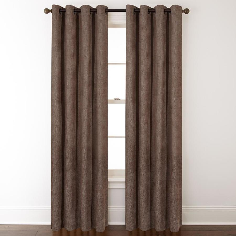 allen + roth Silcroft 95-in Chocolate Polyester Grommet Light Filtering Single Curtain Panel