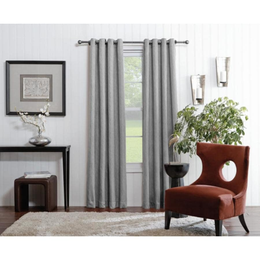 Allen Roth Merriby 84 In Gray Polyester Grommet Light Filtering Single Curtain Panel