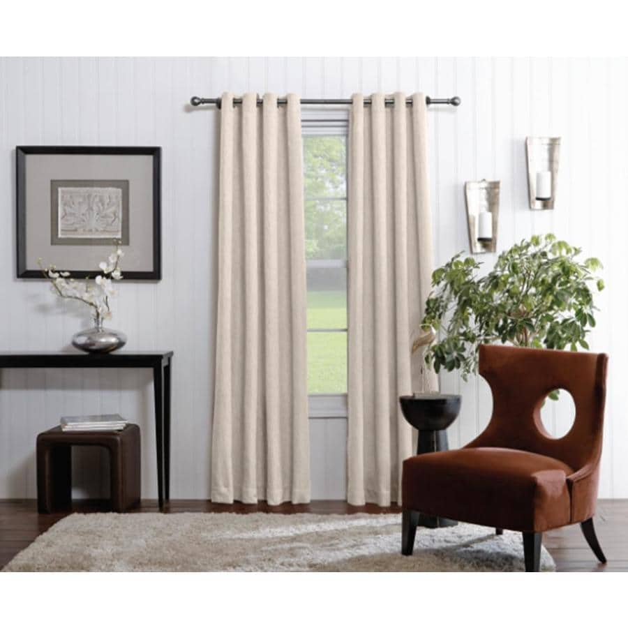 allen + roth Merriby 95-in Ivory Polyester Grommet Light Filtering Single Curtain Panel
