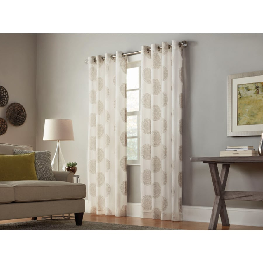 allen + roth Cressmar 84-in Camel Polyester Grommet Light Filtering Sheer Single Curtain Panel