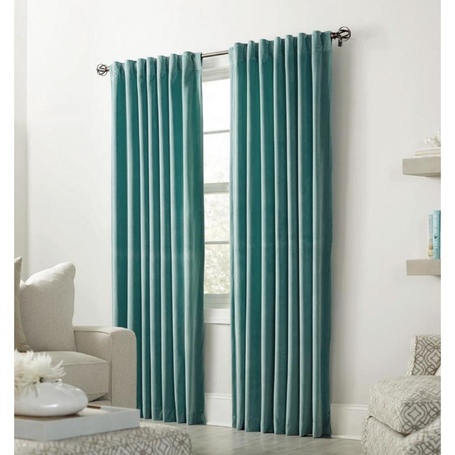 allen + roth Burgett 84-in Mineral Velvet Back Tab Light Filtering Single Curtain Panel