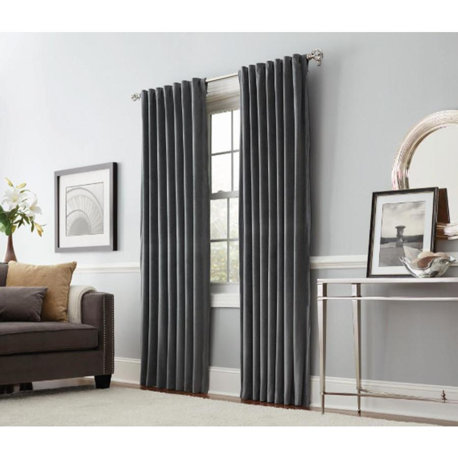 allen + roth Burgett 84-in Dark Gray Velvet Back Tab Light Filtering Single Curtain Panel