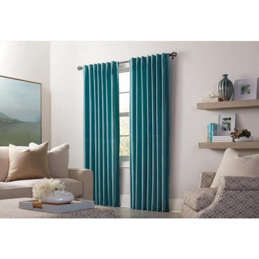 allen + roth Burgett 95-in Mineral Velvet Back Tab Light Filtering Single Curtain Panel