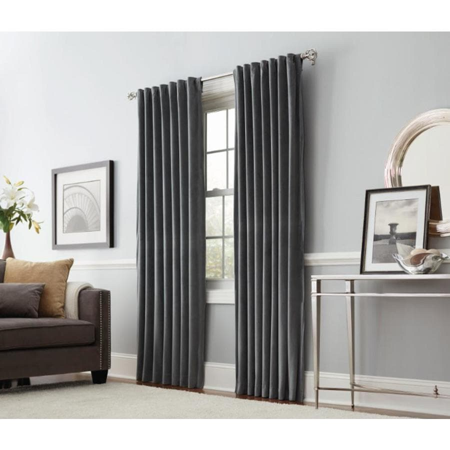 allen + roth Burgett 95-in Gray Velvet Back Tab Light Filtering Single Curtain Panel