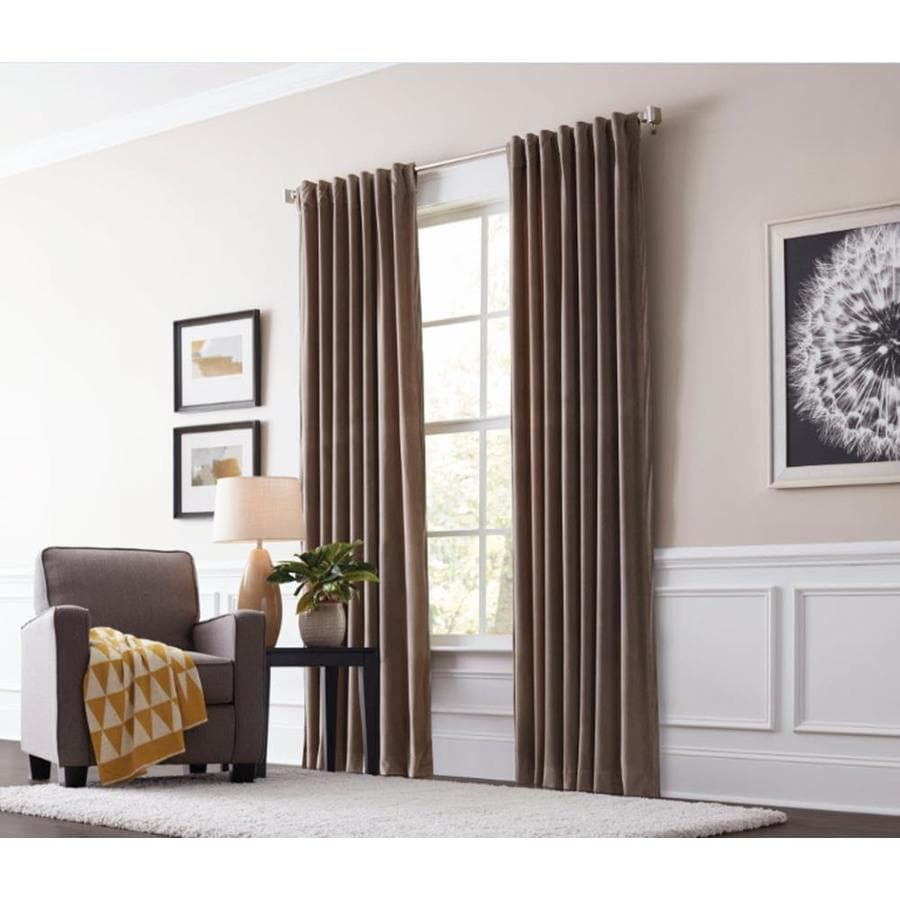 allen + roth Burgett 95-in Taupe Polyester Back Tab Light Filtering Single Curtain Panel