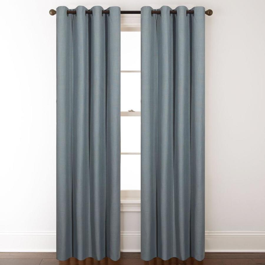 allen + roth Whinfell 63-in Mineral Faux Linen Grommet Light Filtering Single Curtain Panel