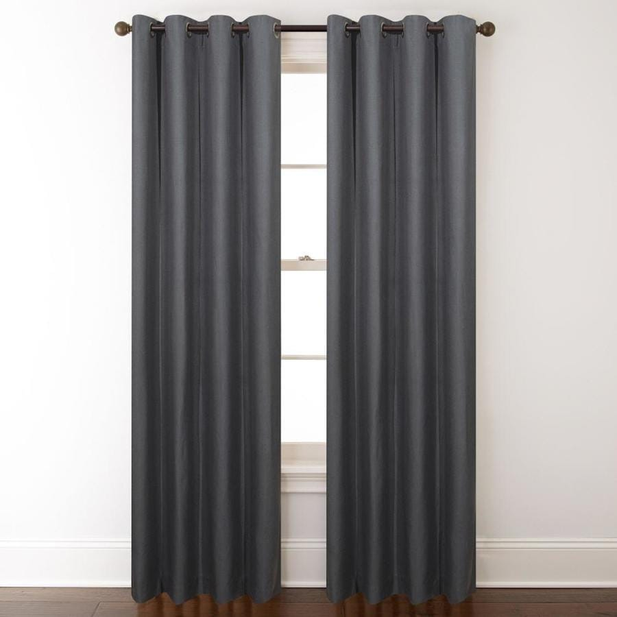 allen + roth Whinfell 95-in Gray Faux Linen Grommet Light Filtering Single Curtain Panel
