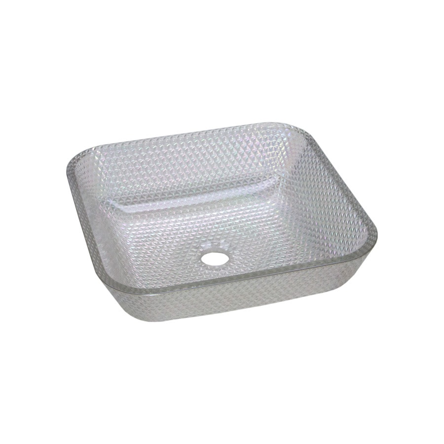 JSG Oceana Cubix Crystal Reflections Glass Vessel Square Bathroom Sink