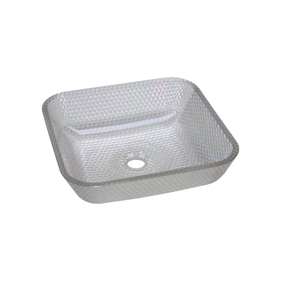 JSG Oceana Cubix Crystal Reflections Glass Vessel Square Bathroom Sink