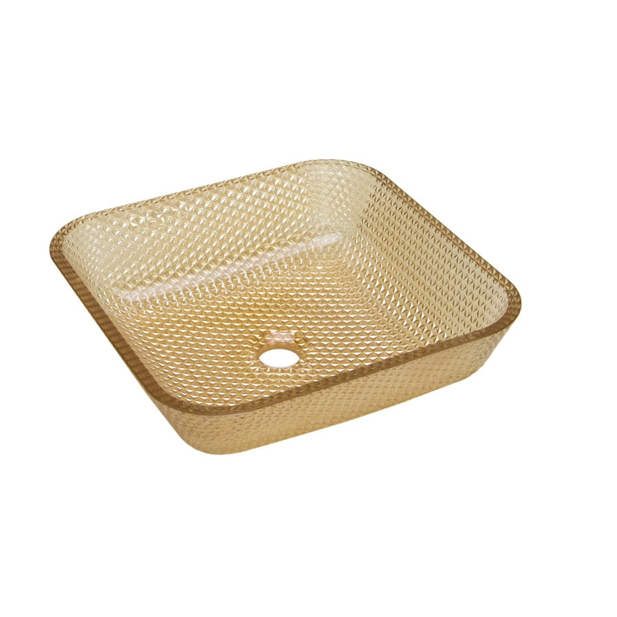 JSG Oceana Cubix Champagne Gold Glass Vessel Square Bathroom Sink
