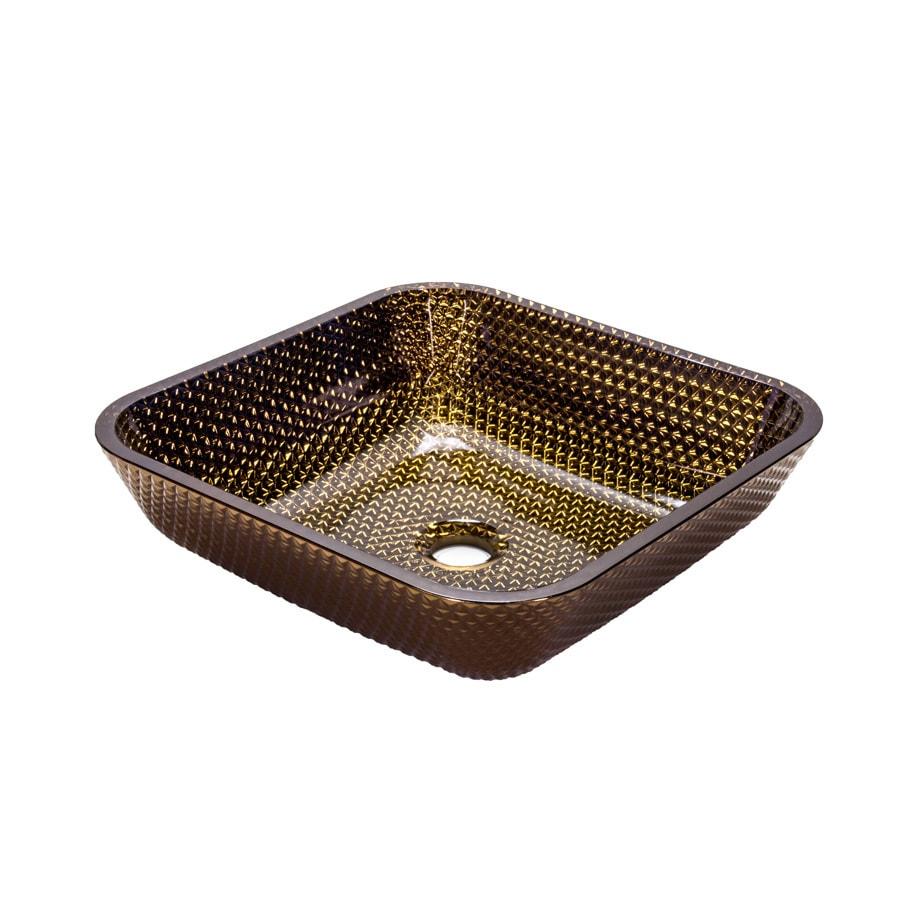JSG Oceana Cubix Vessel Cobalt Copper Glass Vessel Square Bathroom Sink