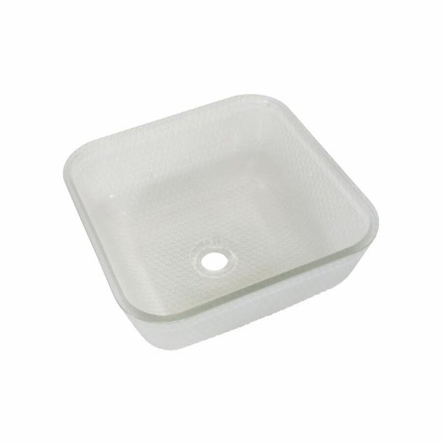 JSG Oceana Cubix Vessel Frost Glass Vessel Square Bathroom Sink