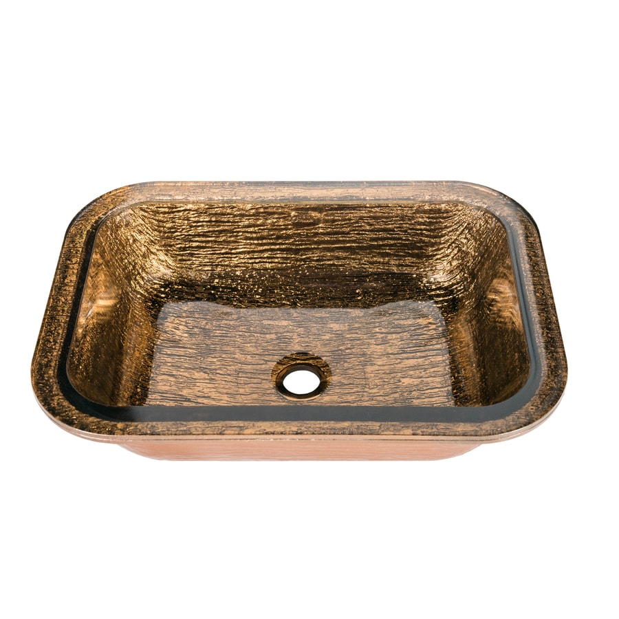 JSG Oceana Oasis Rectangle Undermount Cobalt Copper Glass Undermount  Rectangular Bathroom Sink