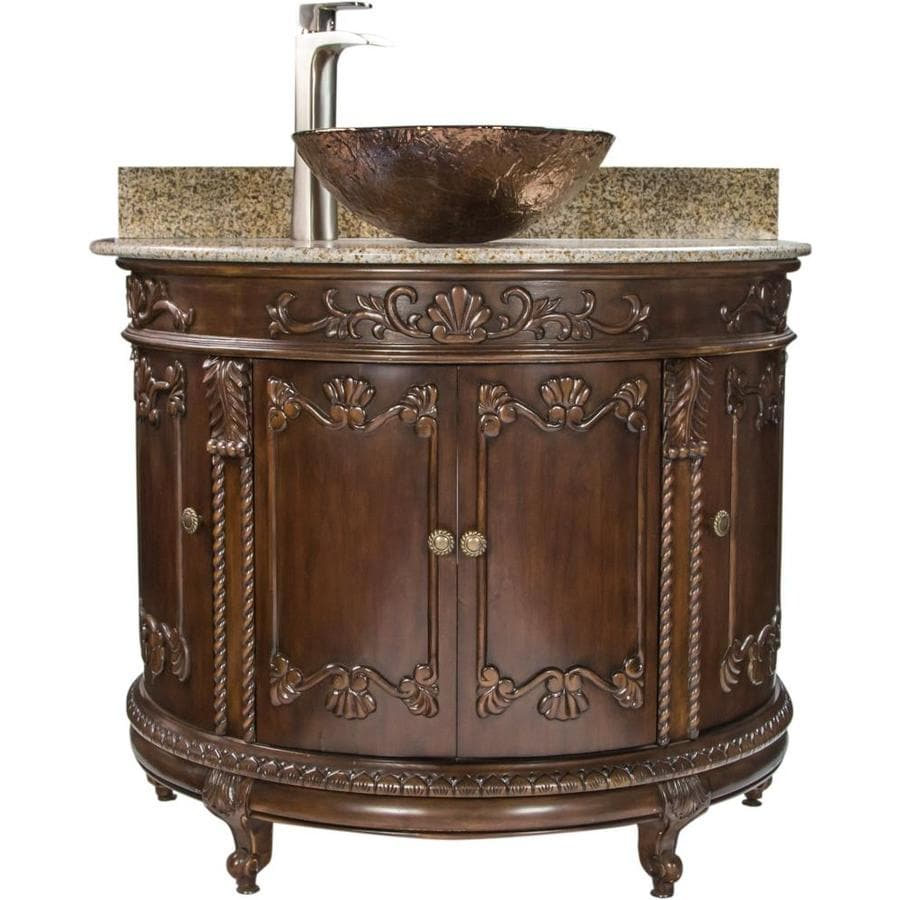 Jsg Oceana Jsg Oceana Semi Circle Vanity 37 In Espresso Single Sink Bathroom Vanity With Beige Granite Top In The Bathroom Vanities With Tops Department At Lowes Com