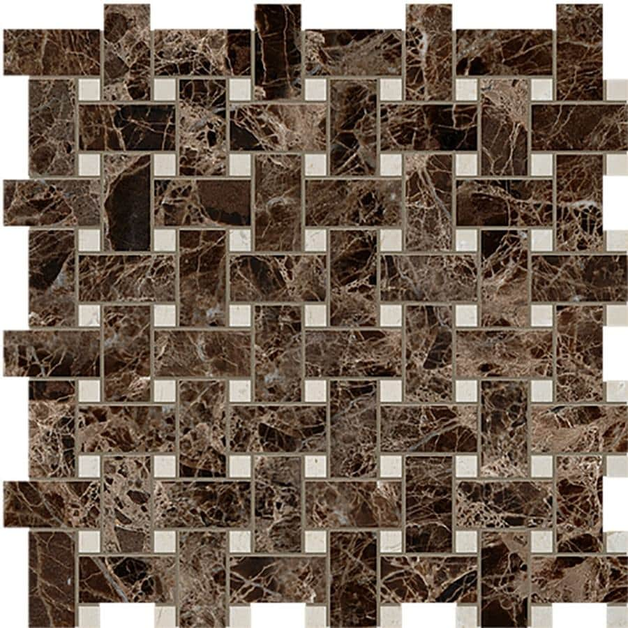Marble Systems 6-Pack NBS Emperador Dark and Crema M Natural Stone Mosaic Basketweave Wall Tile (Common: 12-in x 12-in; Actual: 12-in x 12-in)
