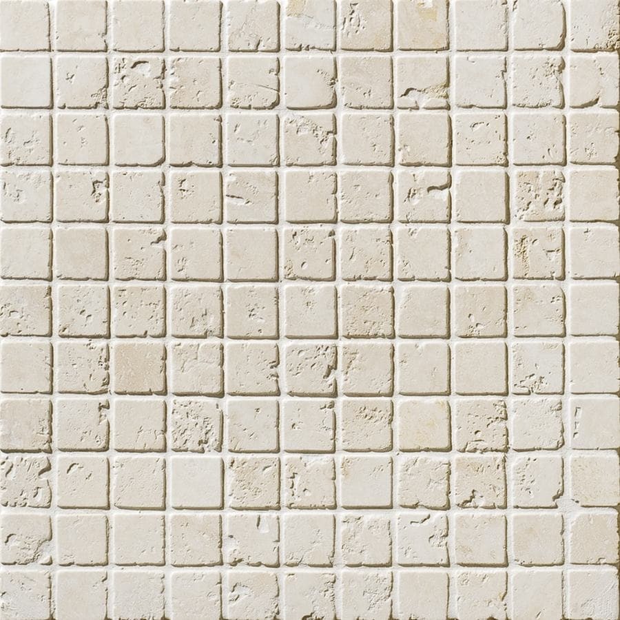 Bermar Natural Stone Ivory Tumbled Travertine Floor and Wall Tile (Common: 12-in x 12-in; Actual: 12-in x 12-in)