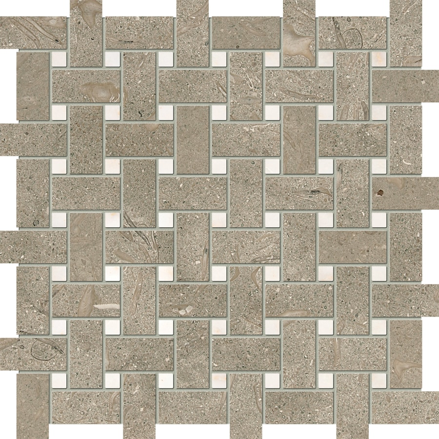 Marble Systems 6-Pack NBS Olive Green and Afyon Sugar Natural Stone Mosaic Basketweave Wall Tile (Common: 12-in x 12-in; Actual: 12-in x 12-in)