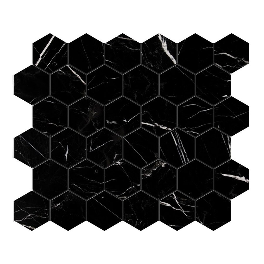 Bermar Natural Stone Black Marble Polished Marble Floor and Wall Tile (Common: 12-in x 12-in; Actual: 10.5-in x 12-in)
