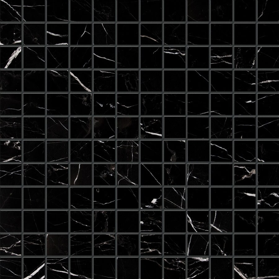 Bermar Natural Stone Black Marble Polished Marble Floor and Wall Tile (Common: 12-in x 12-in; Actual: 12-in x 12-in)
