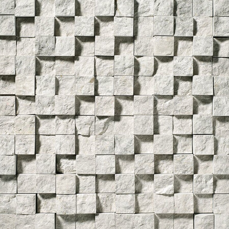 Bermar Natural Stone Silver Sky Rock Face Marble Floor and Wall Tile (Common: 12-in x 12-in; Actual: 12-in x 12-in)