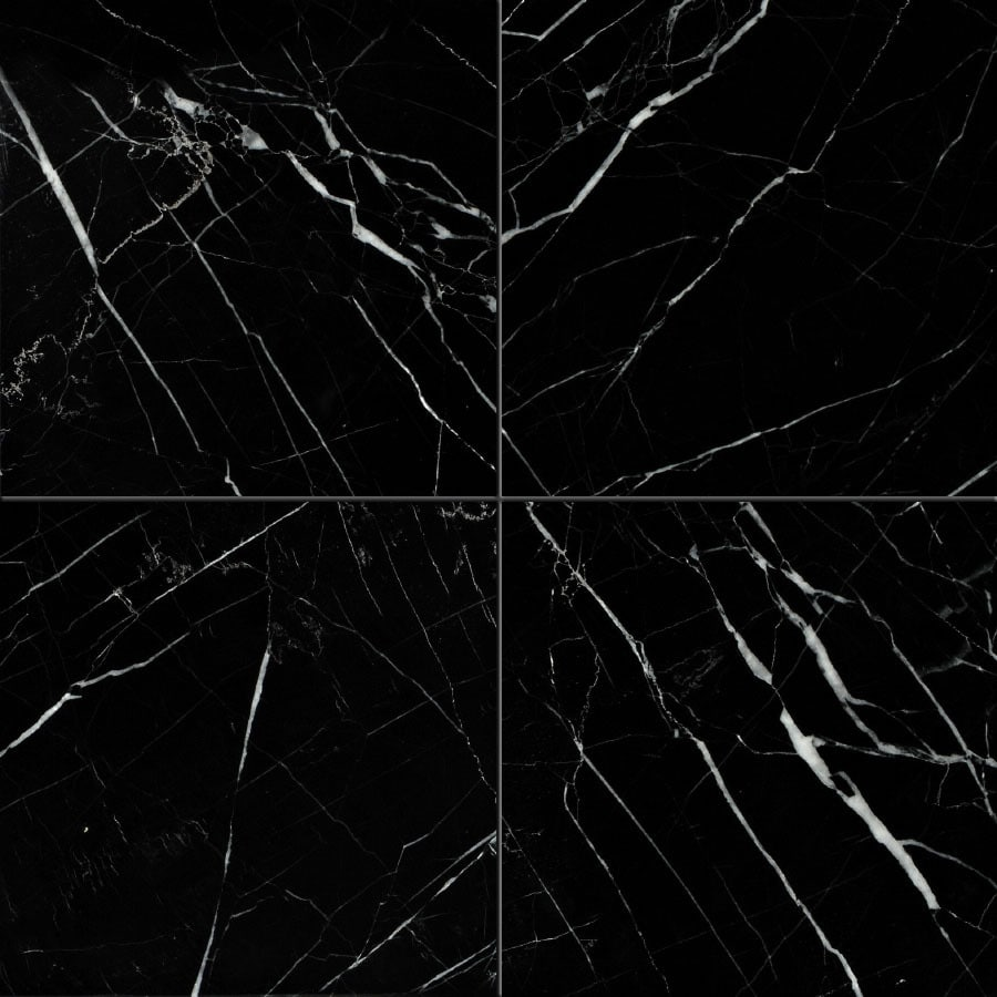 Shop Bermar Natural Stone Black Marble Polished Marble Floor And Wall Tile Common 12 In X 12