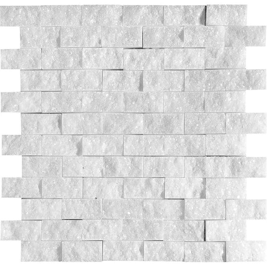 Bermar Natural Stone Arctic White Rock Face Marble Floor and Wall Tile (Common: 12-in x 12-in; Actual: 11.75-in x 12-in)