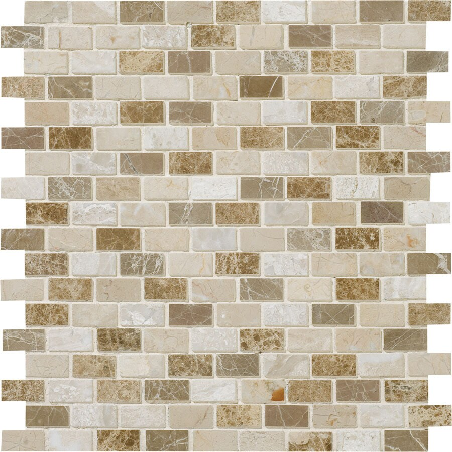 Bermar Natural Stone Naples Blend Polished Marble Floor and Wall Tile (Common: 12-in x 12-in; Actual: 11.75-in x 11.625-in)