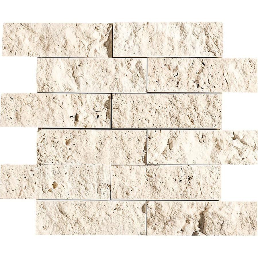 Travertine Stone Wall : Shop bermar natural stone ivory rock face travertine floor