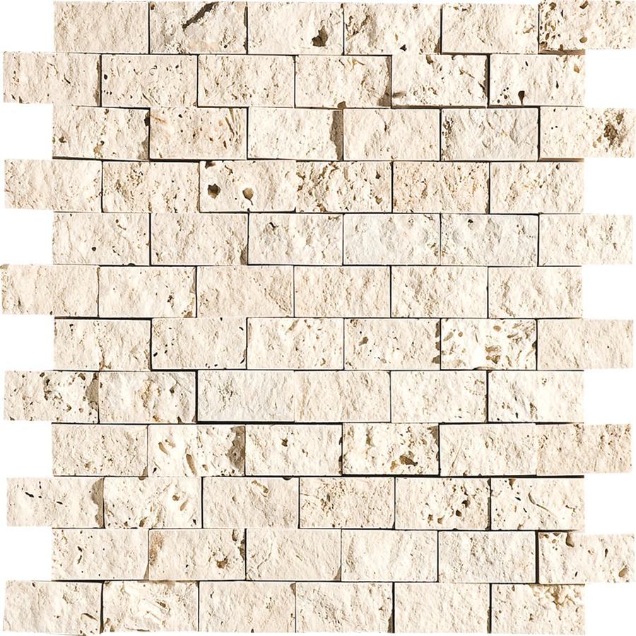 Bermar Natural Stone Ivory Rock Face Travertine Floor and Wall Tile (Common: 12-in x 12-in; Actual: 11.75-in x 12-in)