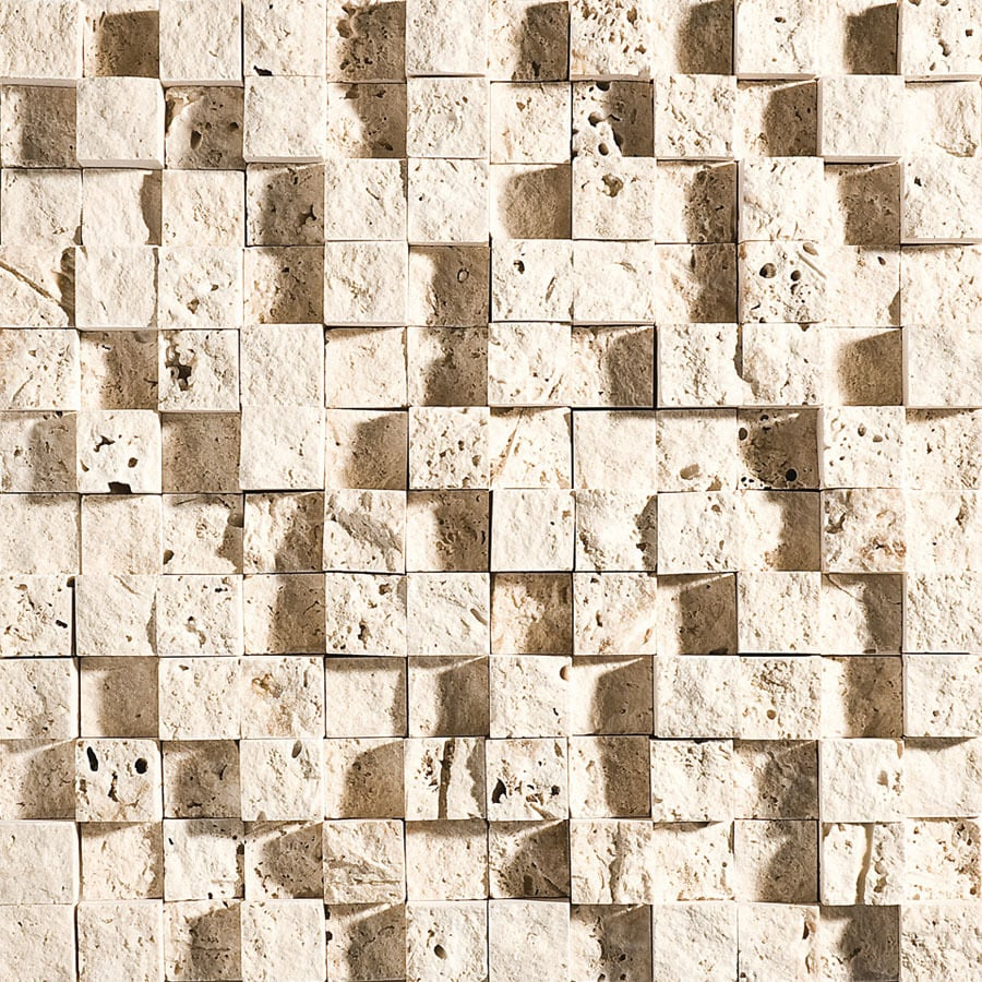 Bermar Natural Stone Ivory Rock Face Travertine Floor and Wall Tile (Common: 12-in x 12-in; Actual: 12-in x 12-in)