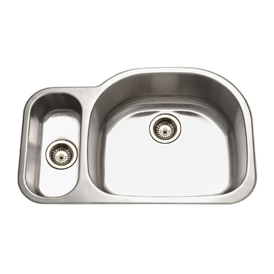 HOUZER Medallion 21-in x 32-in Lustrous Satin Double-Basin Stainless Steel Undermount Residential Kitchen Sink