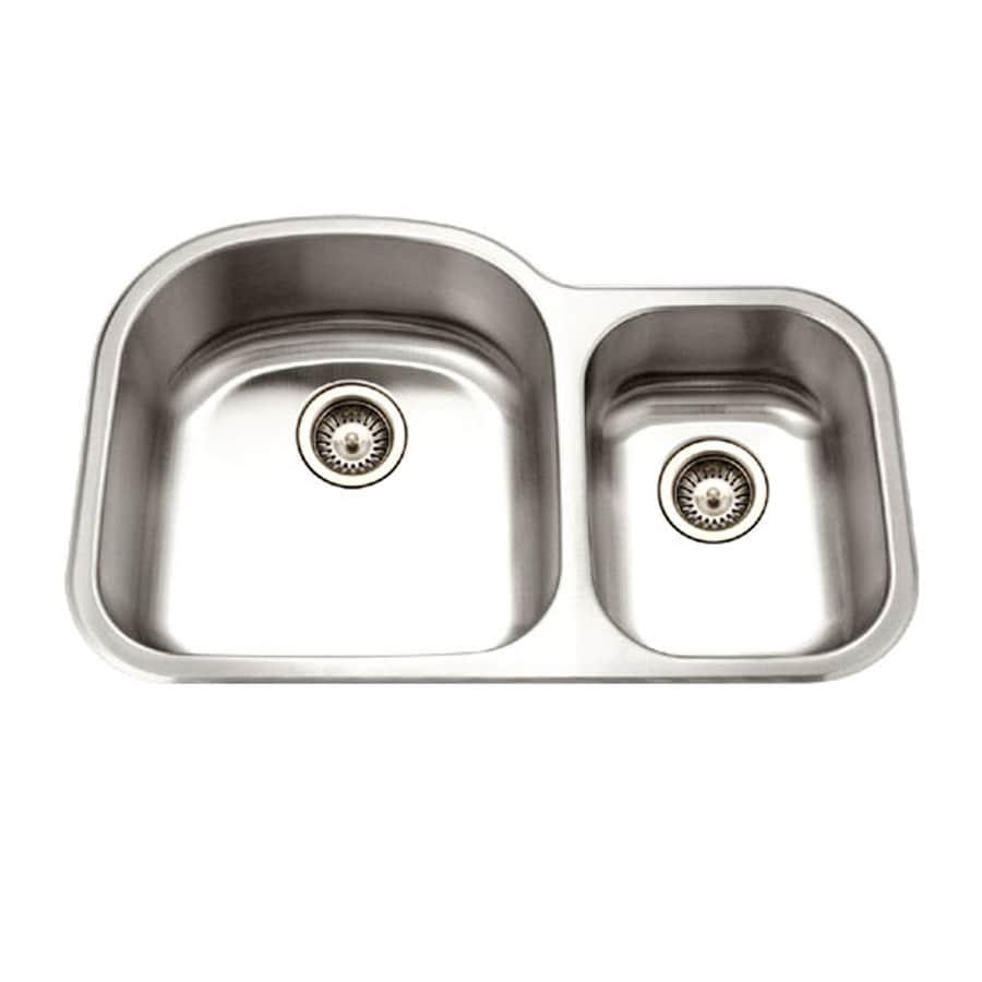 HOUZER Medallion 21-in x 33-in Lustrous Satin Double-Basin Stainless Steel Undermount Residential Kitchen Sink