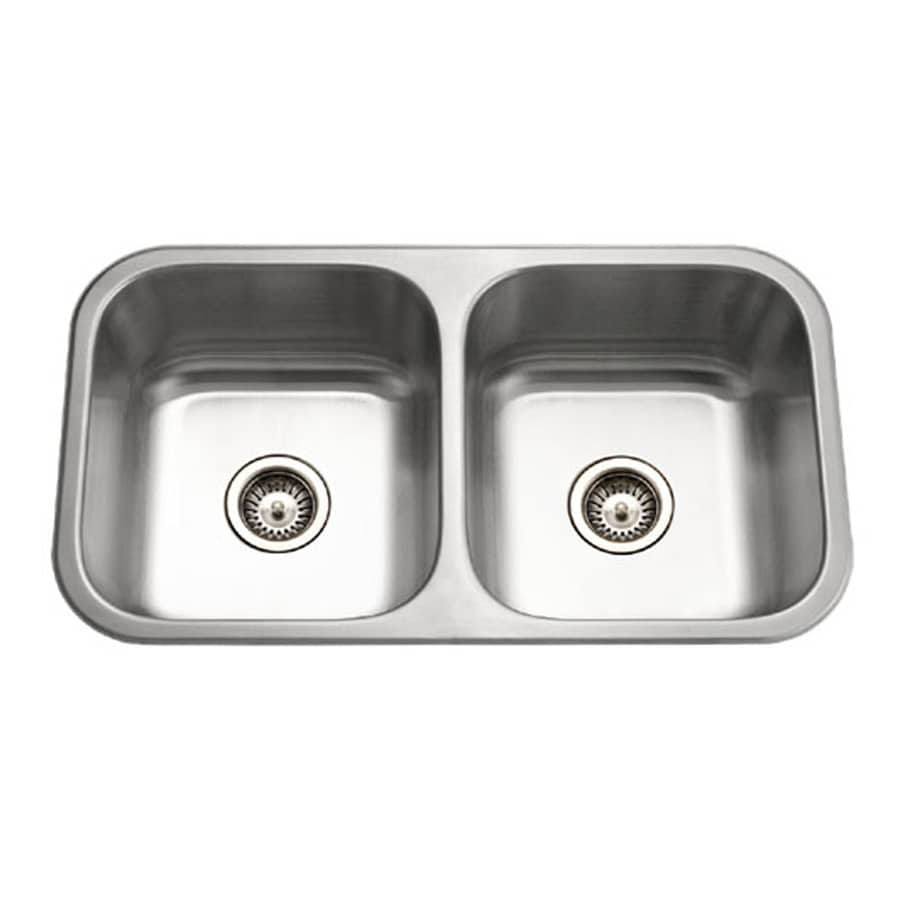 HOUZER Medallion 18-in x 32-in Lustrous Satin 2 Stainless Steel Undermount (Customizable)-Hole Residential Kitchen Sink