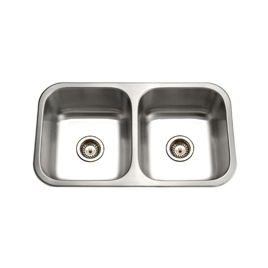 HOUZER Elite 18-in x 32-in Lustrous Satin 2 Stainless Steel Undermount (Customizable)-Hole Residential Kitchen Sink
