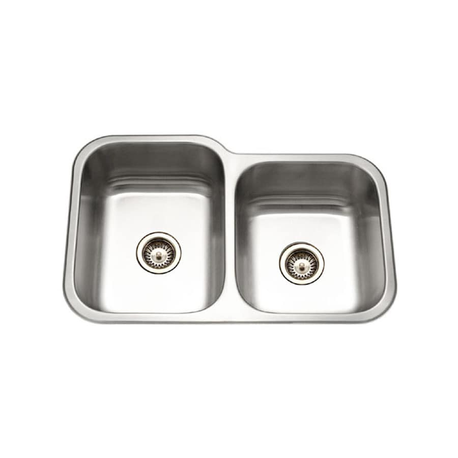 HOUZER Elite 20-in x 32-in Lustrous Satin Double-Basin Stainless Steel Undermount Residential Kitchen Sink