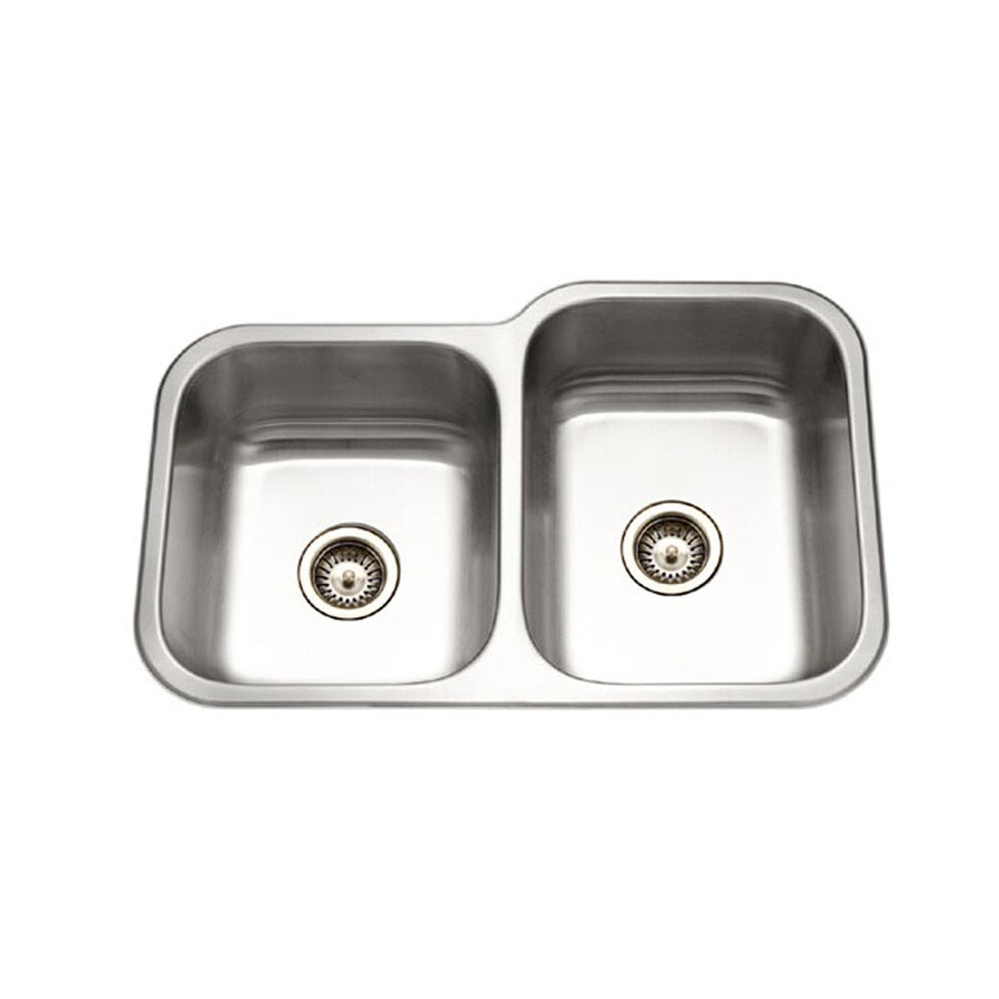 HOUZER Elite 20-in x 32-in Lustrous Satin Double-Basin Stainless Steel Undermount Residential Kitchen Sink