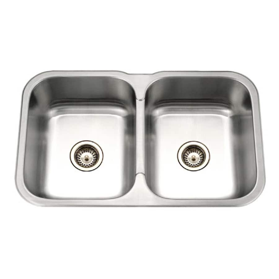 HOUZER Medallion 20-in x 32-in Lustrous Satin Double-Basin Stainless Steel Undermount Residential Kitchen Sink