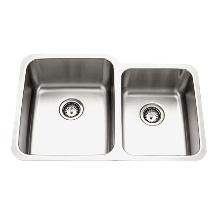 HOUZER Medallion 21-in x 32-in Lustrous Satin 2 Stainless Steel Undermount (Customizable)-Hole Residential Kitchen Sink