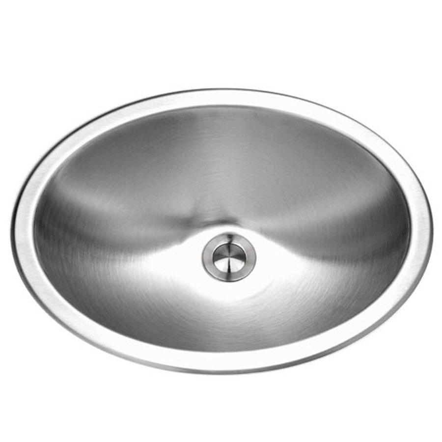 HOUZER Opus Lustrous Satin Stainless Steel Drop-In Elliptical Bathroom Sink