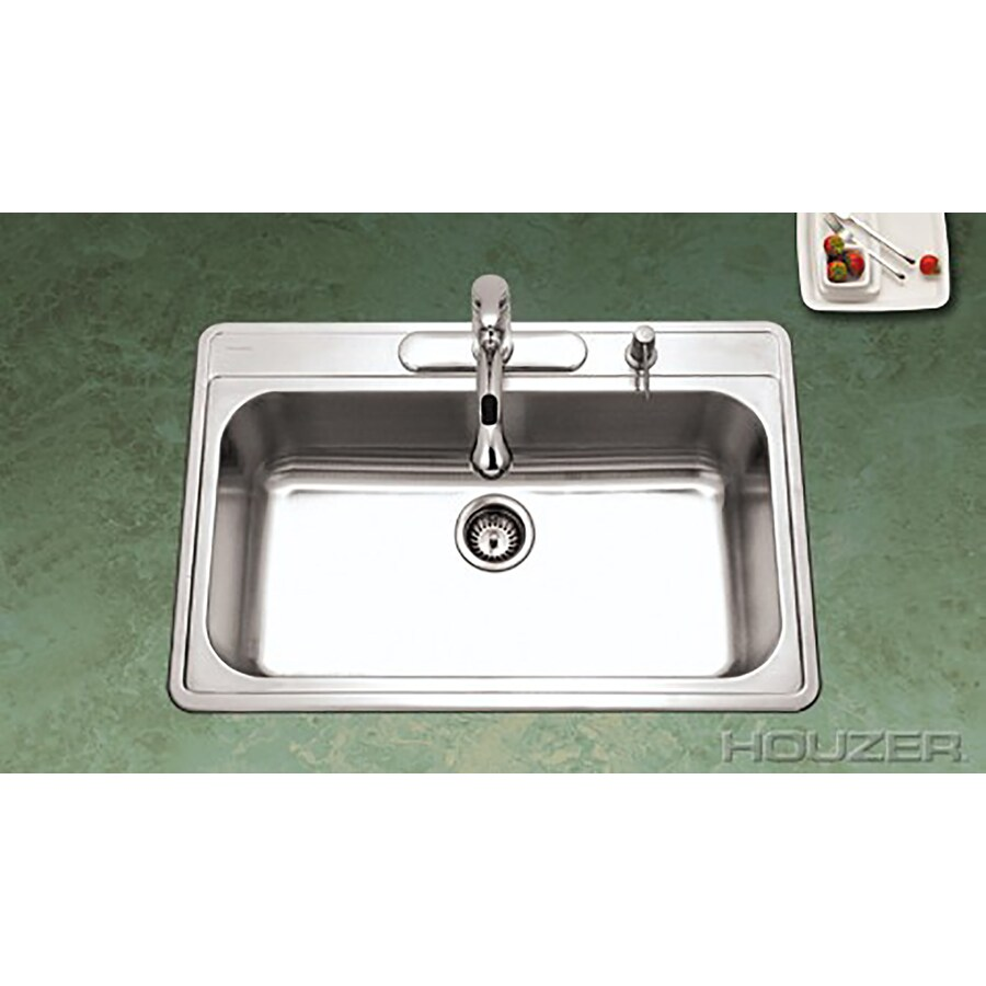 HOUZER Premiere 22-in x 33-in Lustrous Satin 1 Stainless Steel Drop-in 1-Hole Residential Kitchen Sink