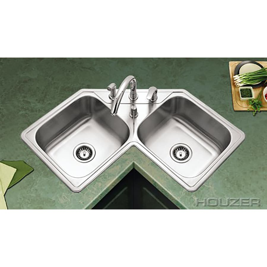 HOUZER Legend 32-in x 32-in Lustrous Satin Double-Basin Stainless Steel Drop-in 4-Hole Corner Installation Residential Kitchen Sink