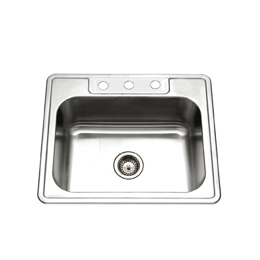 HOUZER Glowtone 22-in x 25-in Lustrous Satin Single-Basin Stainless Steel Drop-in 3-Hole Residential Kitchen Sink