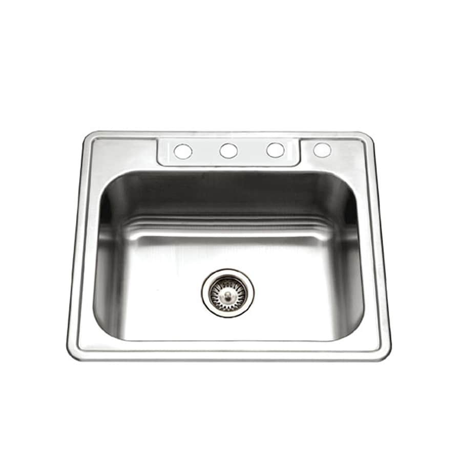 HOUZER Glowtone 22-in x 25-in Lustrous Satin 1 Stainless Steel Drop-in 4-Hole Residential Kitchen Sink