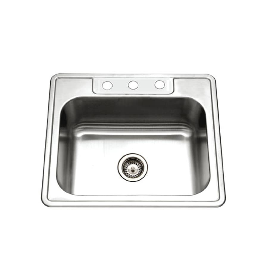 HOUZER Glowtone Builder 22-in x 25-in Lustrous Satin Single-Basin Drop-in 3-Hole Residential Kitchen Sink