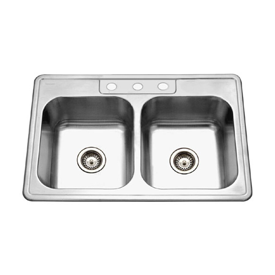 HOUZER Glowtone 22-in x 33-in Lustrous Satin Double-Basin Drop-in 3-Hole Residential Kitchen Sink