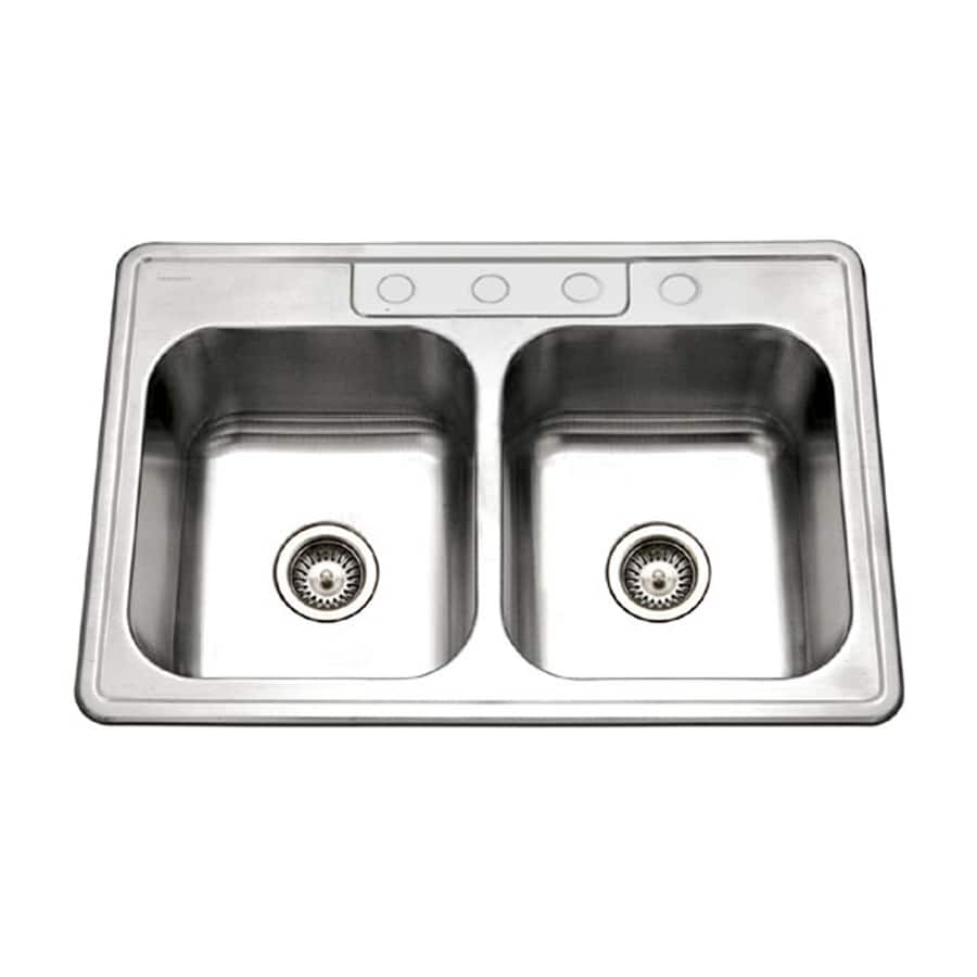 HOUZER Glowtone Builder 22-in x 33-in Lustrous Satin Double-Basin Drop-in 4-Hole Residential Kitchen Sink